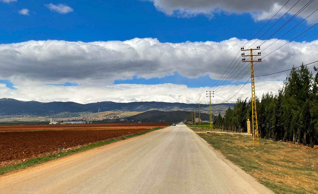 A road stretching into the distance with farmland on one side, trees on the other and mountains in the distance