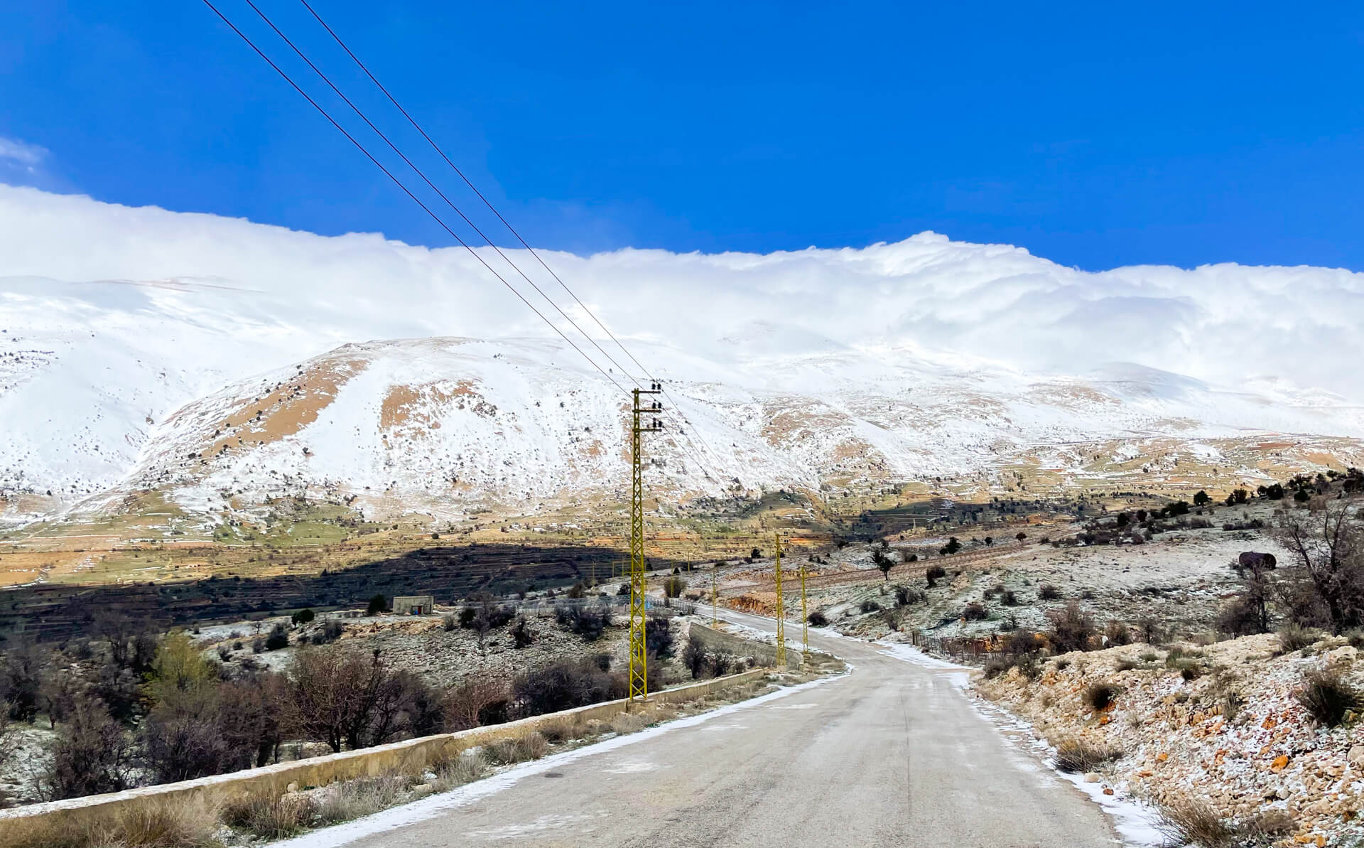 A country road heading towards a mountain range, which is covered in snow.