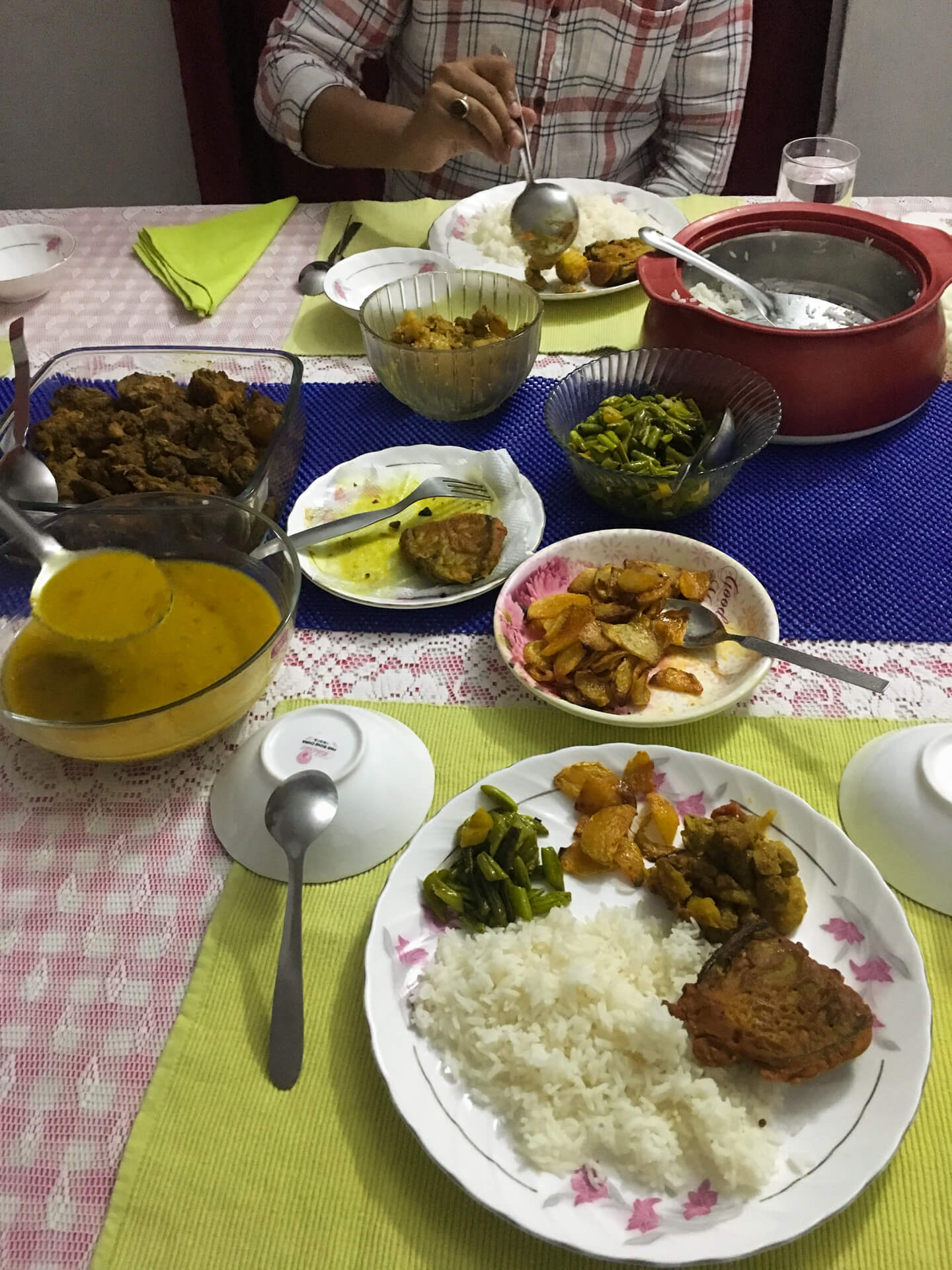 The meal that Bhaskarnil's cousin's wife cooked for us.
