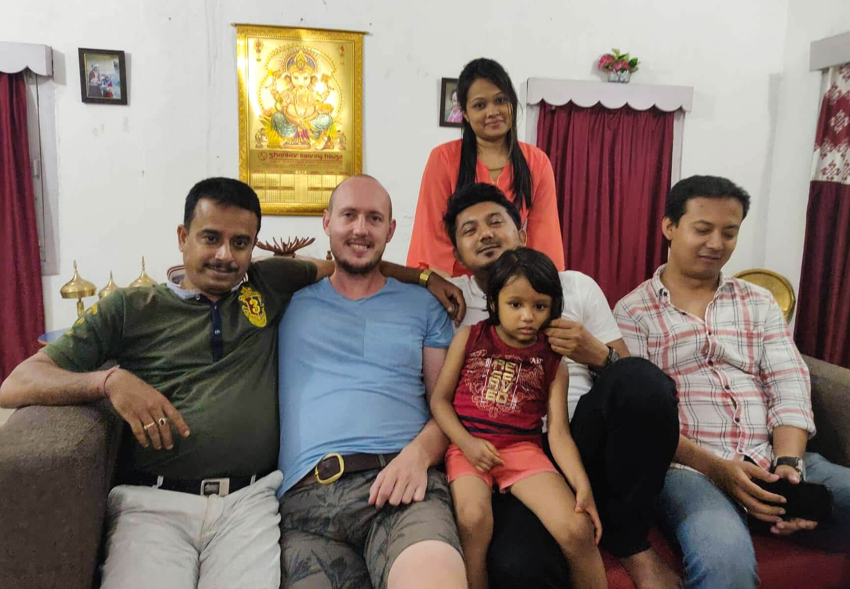 Me with Bhaskarnil's cousin's family, including his wife and daughter.