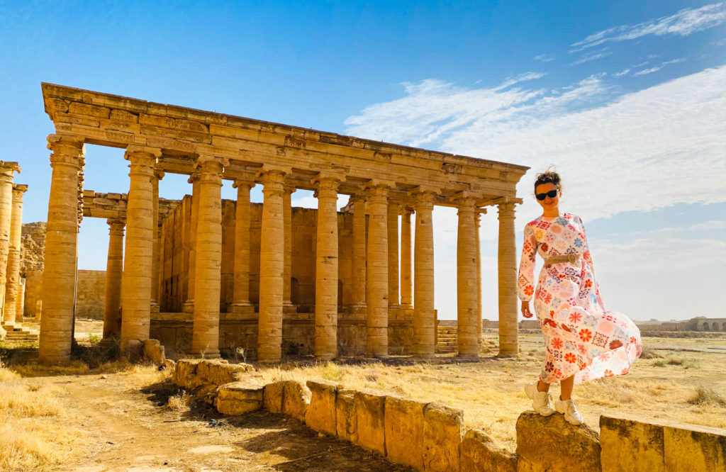 Anna standing by the ruins of the ancient city of Hatra.