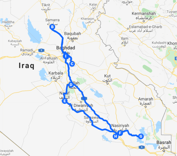 Map of the route for the federal iraq highlights itinerary.