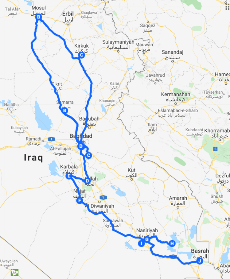 Map of the federal Iraq in-depth itinerary.