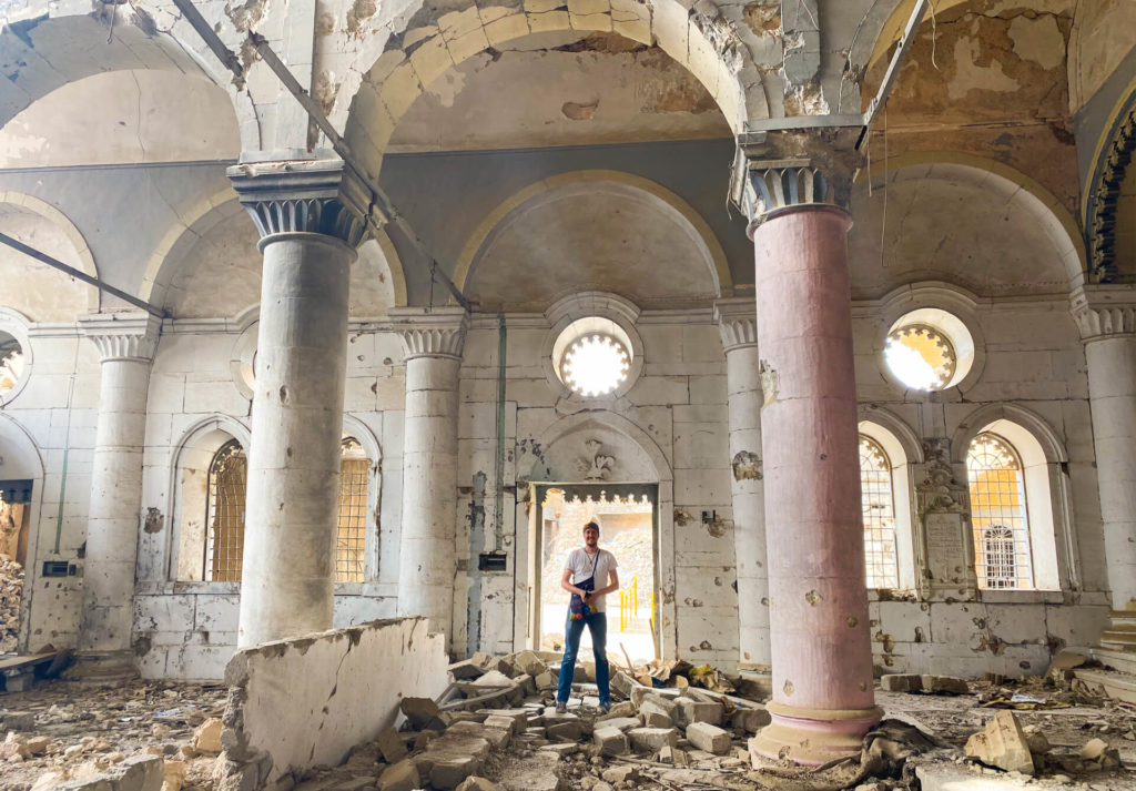 Me, standing in a badly damaged church in Mosul.