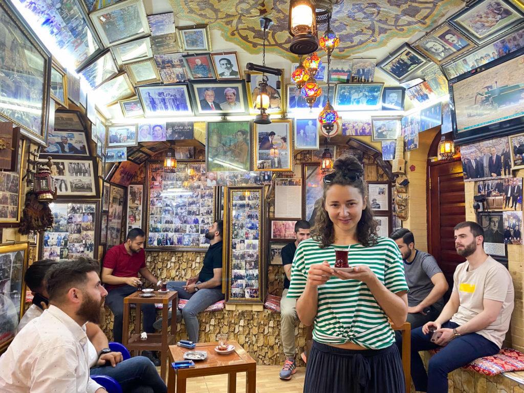 Anna drinking tea in the Mam Khalil tea house.