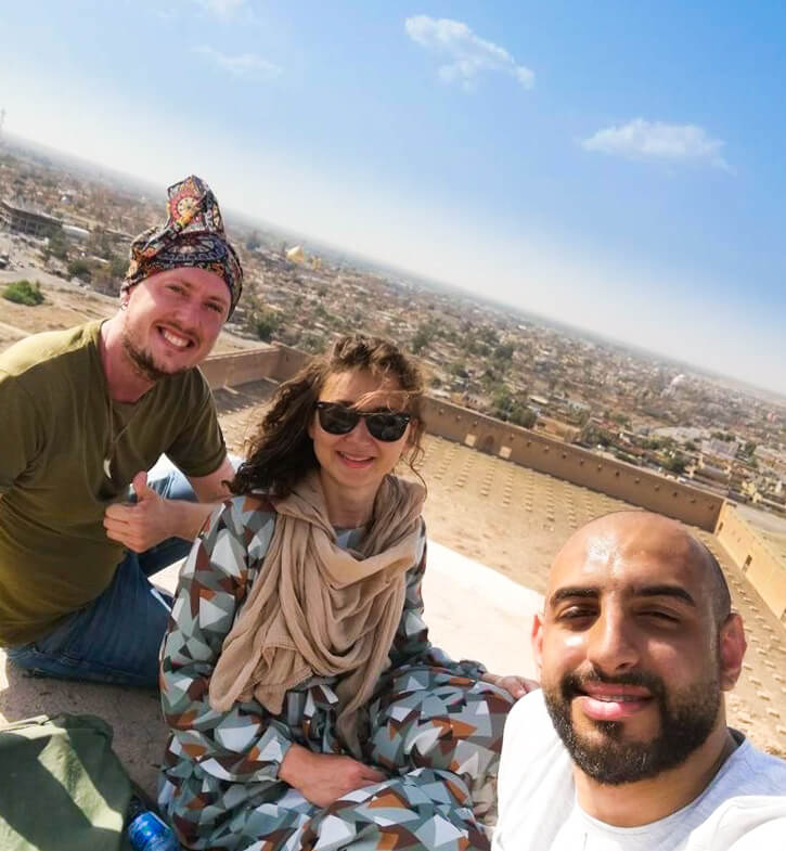 Me, Anna and Zaid sitting on top of the Malwiya Minaret