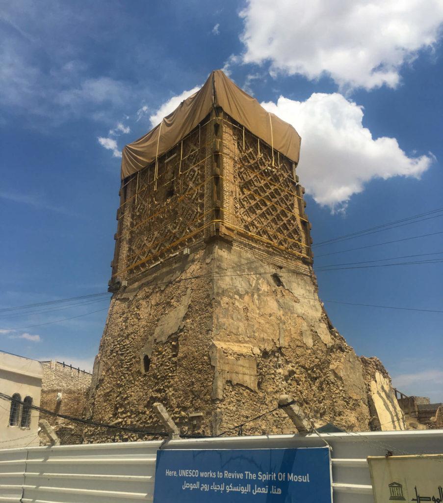 The stump of the Al-Hadba minaret in Mosul.