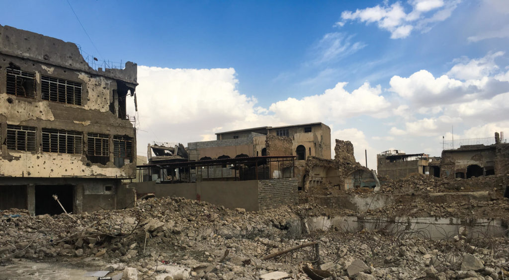 Several bombed out buildings in Mosul.