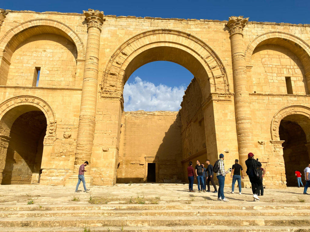Hatra's main facade with our group standing out front.