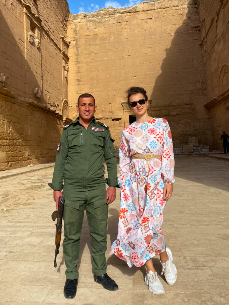 Anna and a local solider.