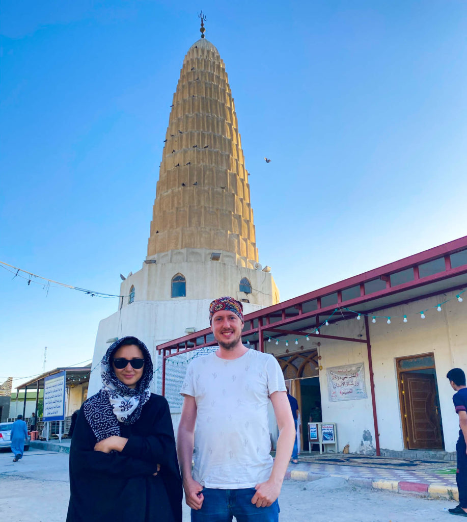 Anna and I standing in front of the E Radeshams mosque in Hillah.
