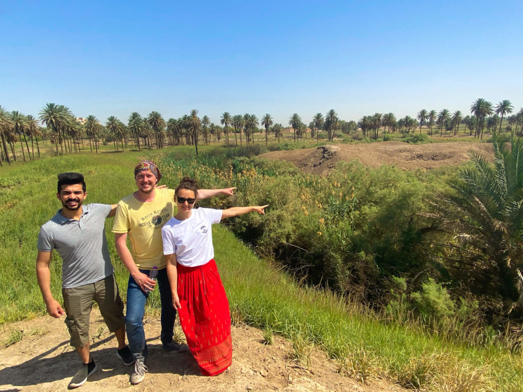 Me, Anna and Haydir pointing at the site where the Tower of Babel once stood - a flattened area of earth surrounded by a moat.